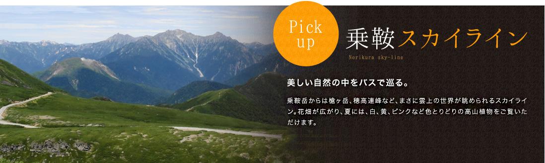 Pickup 乗鞍スカイライン 美しい自然の中をバスで巡る。 乗鞍岳からは槍ヶ岳、穂高連峰など、まさに雲上の世界が眺められるスカイライン。 花畑が広がり、夏には、白、黄、ピンクなど色とりどりの高山植物をご覧いただけます。