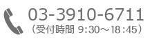03-3910-6711(受付時間 9:00~19:00)