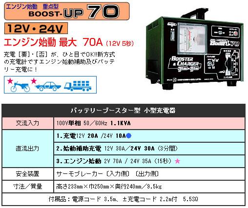 デンゲン バッテリーブースター型小型充電器 BOOST-UP70