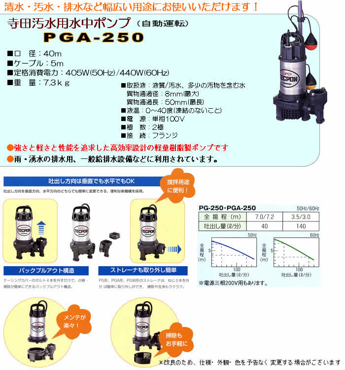 寺田ポンプ 汚水用水中ポンプ PGA-250 自動運転