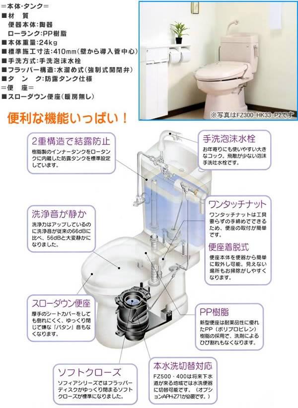ダイワ化成 簡易水洗便器(手洗い付) ソフィアシリーズ FZ300-H07-P2 ニューピンク