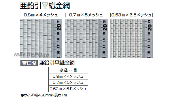 亜鉛引平織金網 450mm巾×1m 0.8mm×4メッシュ