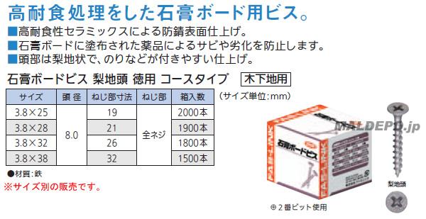 石膏ボードビス 梨地頭 徳用3.8×38 全ネジ コースタイプ