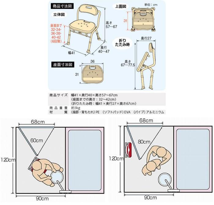 アロン化成 安寿 コンパクト折りたたみシャワーベンチ IC(背付タイプ) レッド 536-362 座面幅36