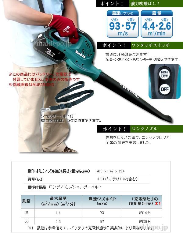 マキタ(makita) 36V用 充電式ブロワ (本体のみ) MUB360DZ