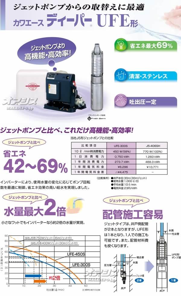 川本ポンプ 家庭用深井戸水中ポンプ カワエースディーパー UFE-450S 単相100V