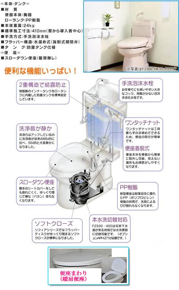 ダイワ化成 簡易水洗暖房便器(手洗い付) ソフィアシリーズ FZ300-H17-PI パステルアイボリー 暖房便座