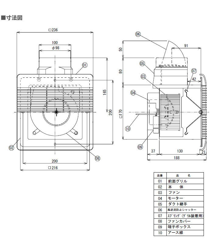 日本電興 ダクト換気扇 UB-2000
