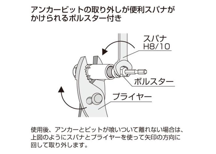 Anex(アネックス) アンカー抜きビット W3/8×40 本体打込式アンカー対応 AEB-340