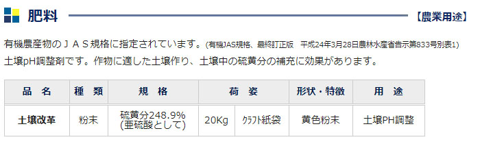 土壌PH調整 微粉硫黄99.7% 土壌改革 20kg