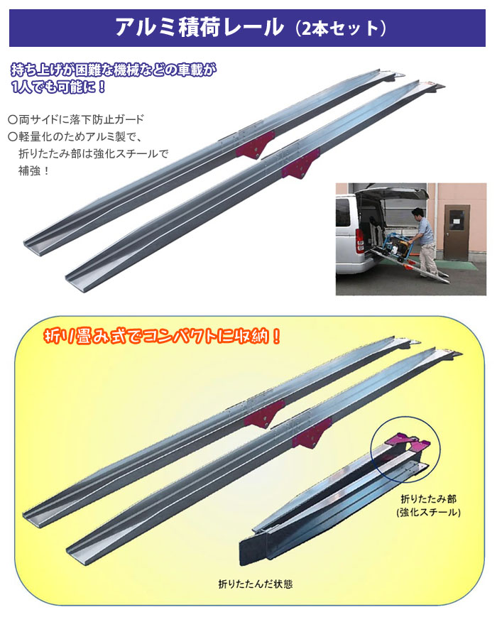 フルテック アルミ積荷レール 折り畳み式 全長2m 2本セット 120W×5t 幅12cm 耐荷重150kg アルミブリッジ