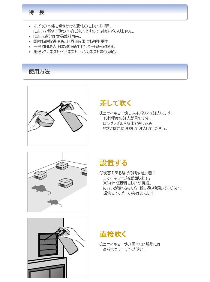 ユタカメイク 逃鼠剤 ラットバリア スプレーセット RAT-210 スプレー1本+ニオイキューブ4個セット
