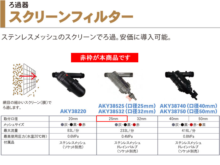 サンホープ スクリーンフィルター 25mm AKY38525 かん水用 ろ過器