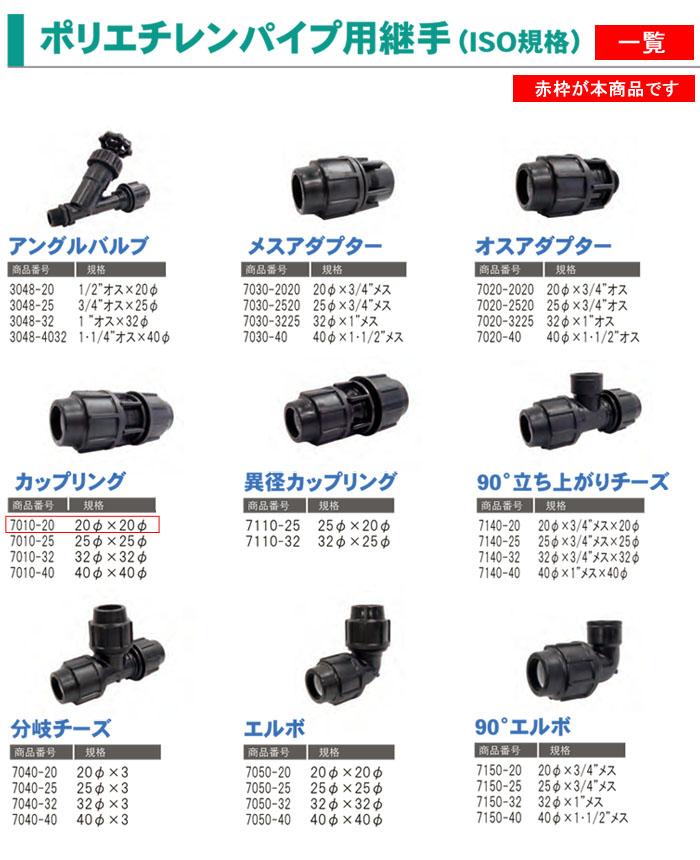 サンホープ ポリエチレンパイプ用継手 カップリング 20φ×20φ 7010-20 ISO規格