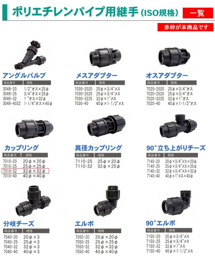 サンホープ ポリエチレンパイプ用継手 カップリング 32φ×32φ 7010-32 ISO規格