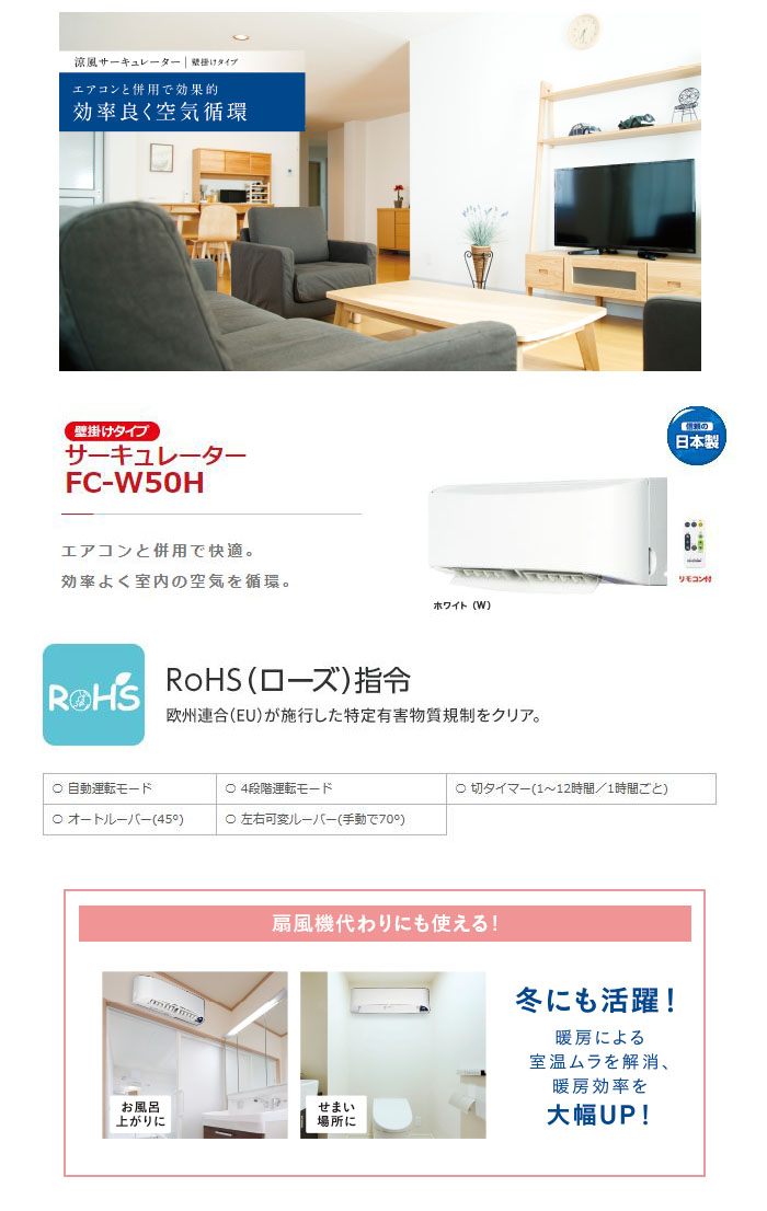トヨトミ 壁掛型 サーキュレーター FC-W50H 送風機
