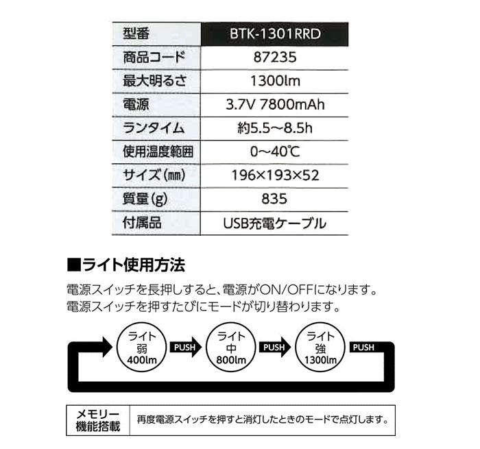 ラジオ付きワークライト BTK-1301RRD スマホ充電・災害対策にも