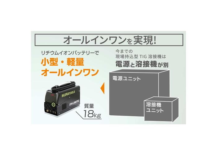 育良精機 ポータブルバッテリーパルスTIG溶接機 ISK-LI160TIG