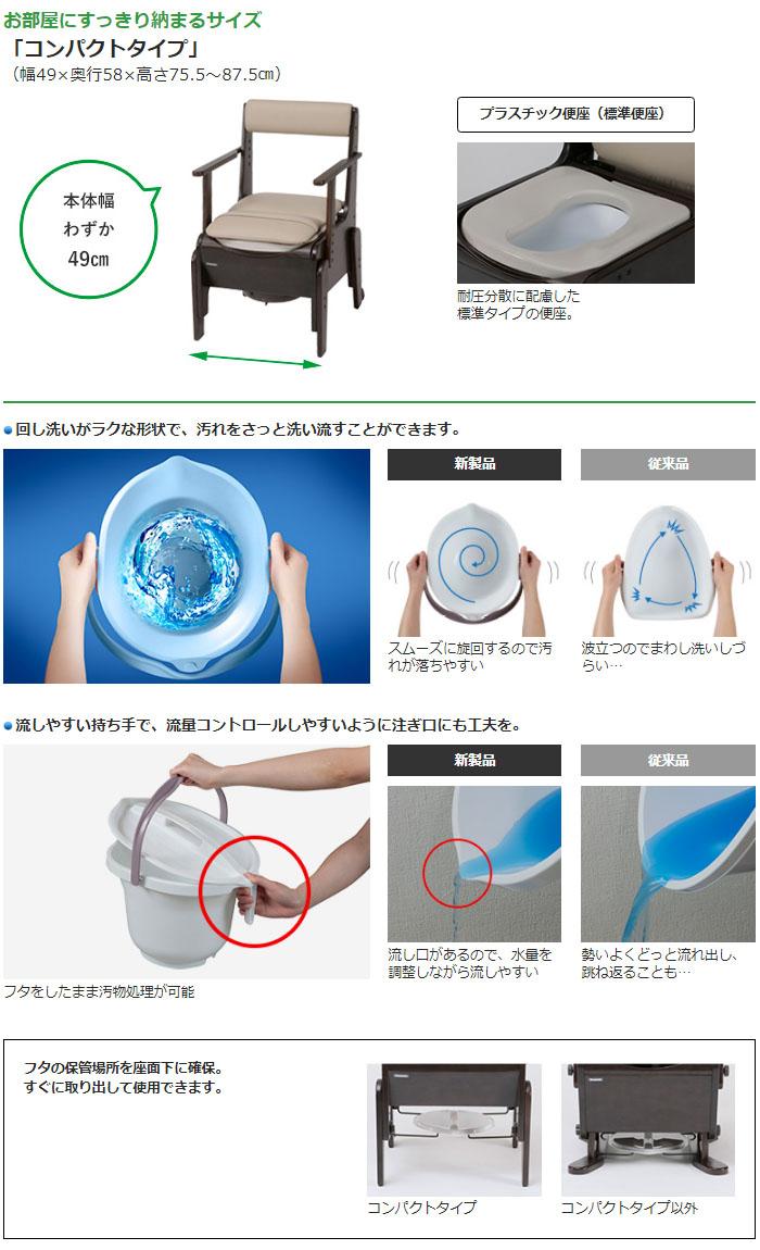 パナソニックエイジフリー 家具調トイレ 座楽 コンパクト プラスチック便座 PN-L23206
