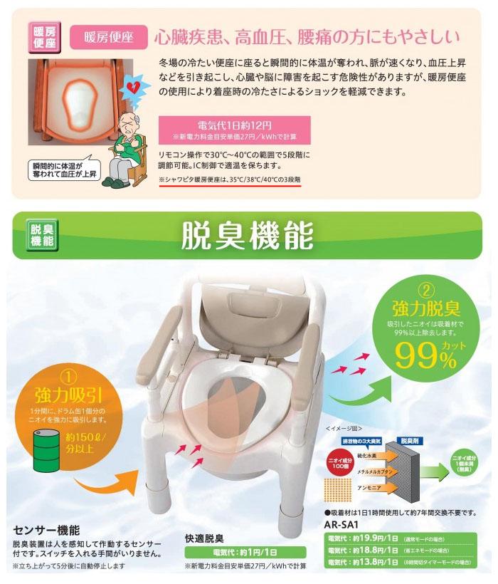 アロン化成 安寿 家具調トイレ AR-SA1 シャワピタ ひじ掛けはねあげタイプ (H)タイプ 533-816