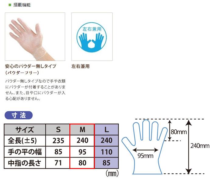 幸和製作所 テイコブプラスチック手袋(M) 100枚入り GL01M 左右兼用・パウダーフリー