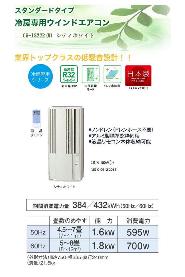 CORONA(コロナ) 冷房専用ウインドエアコン(窓用エアコン) CW-1819(W) シティホワイト