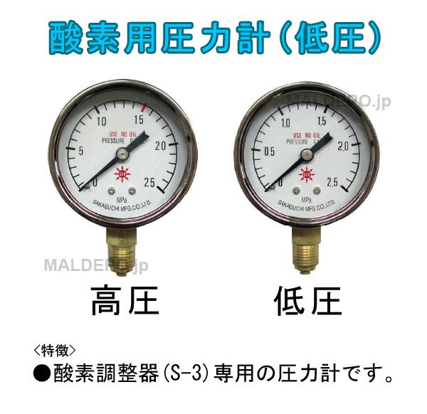 三共コーポレーション 酸素用圧力計 低圧