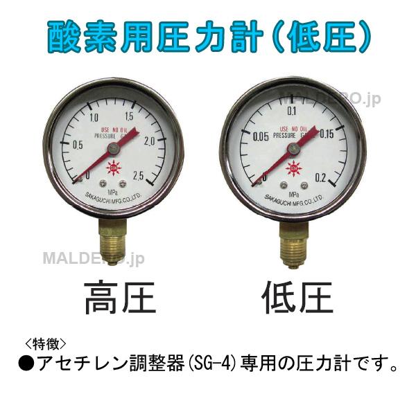 三共コーポレーション アセチレン用圧力計 低圧