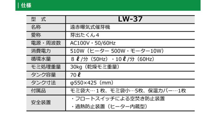 みのる 遠赤曝気式催芽機 芽出たくん4 LW-37