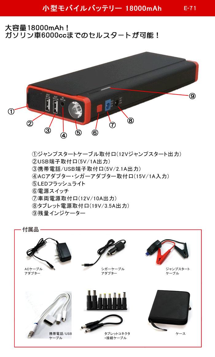 フルテック 小型モバイルバッテリー 18000mAh E-71