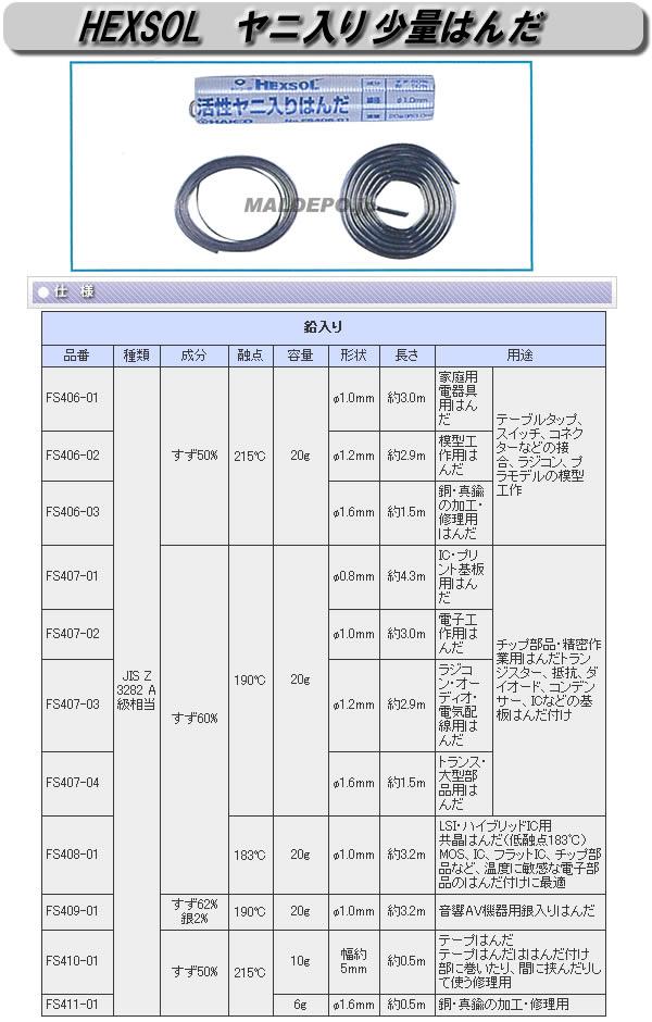 白光 ヤニ入り少量はんだ HEXSOL SN50 φ1.6mm 6g FS411-01