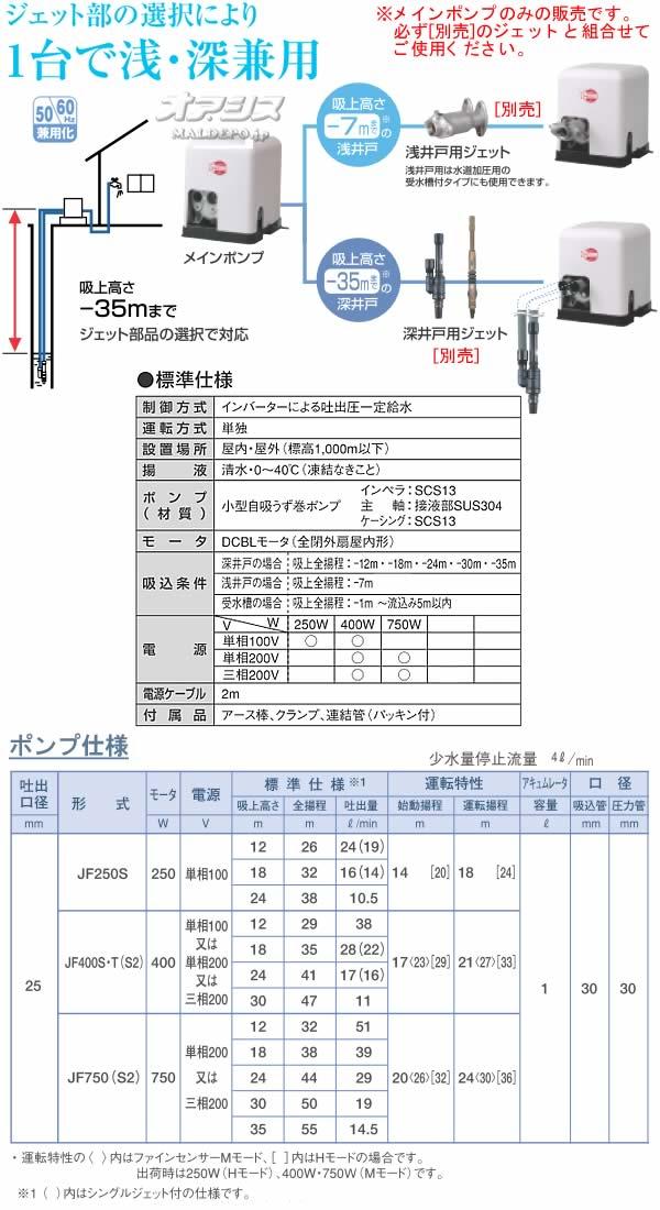 川本ポンプ 家庭用浅深井戸ポンプ カワエースジェット JF400S 単相100V