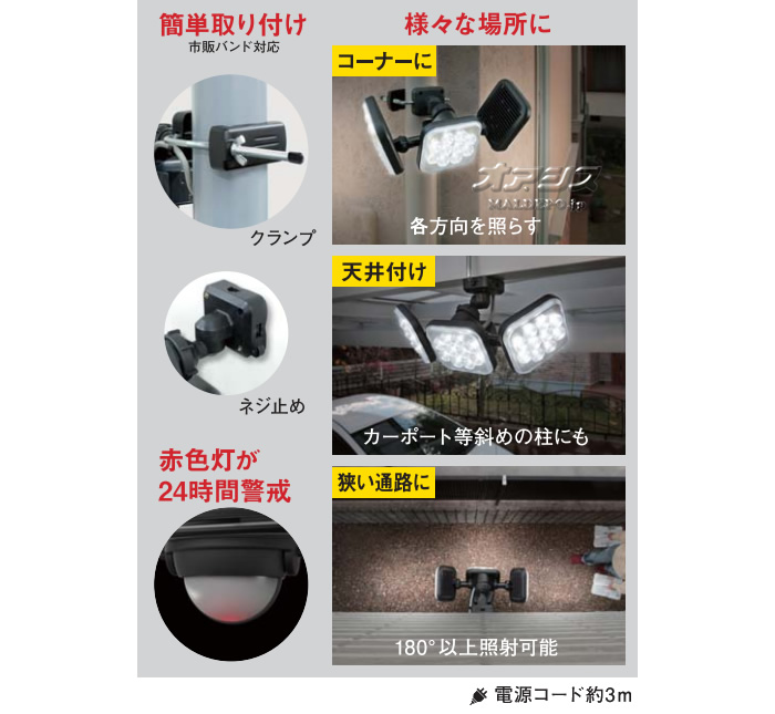 (株)ムサシ RITEX フリーアーム式 LED センサーライト LED-AC2024 12Wx2 LED