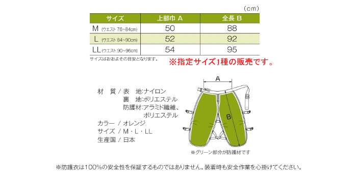 MAC GREEN(マックグリーン/MAX/マックス) チェンソー作業用防護衣 快適なチャップス 涼くん MT585DX オレンジ M