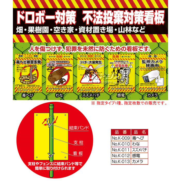 MIKI LOCOS(ミキロコス/高芝ギムネ製作所) 多目的看板 スズメバチ(危険! ハチ大量発生) K-011 12枚セット 210*297mm