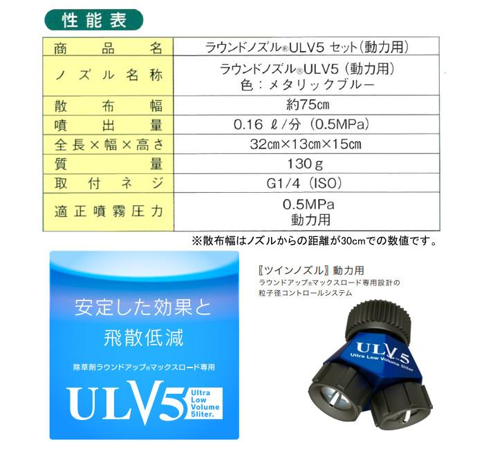 ヤマホ工業(YAMAHO) 除草剤 ラウンドアップマックスロード専用 ラウンドノズル ULV5セット 動力用