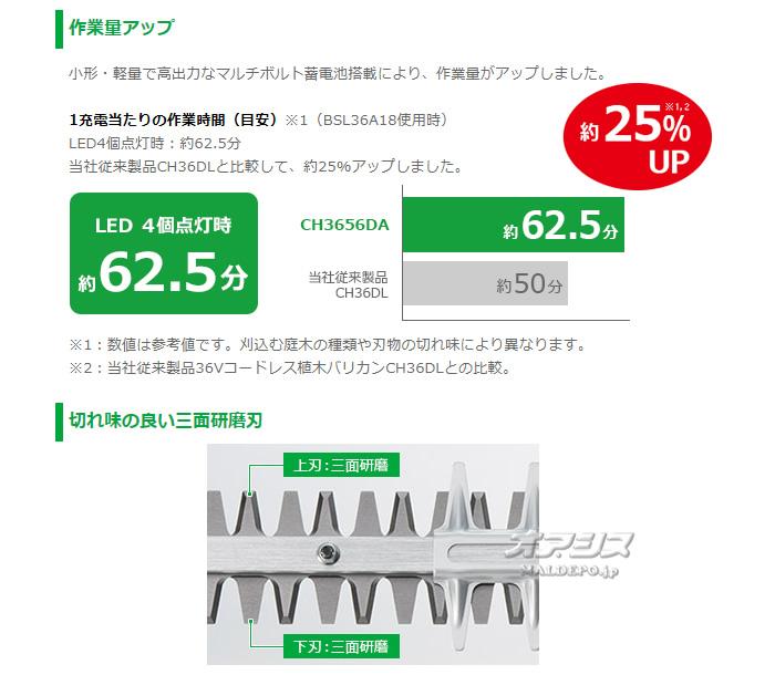 HiKOKI(旧日立工機) マルチボルト(36V充電式) コードレス植木バリカン(ヘッジトリマー) CH3656DA(XP) 充電器・バッテリ1本付【地域別運賃】