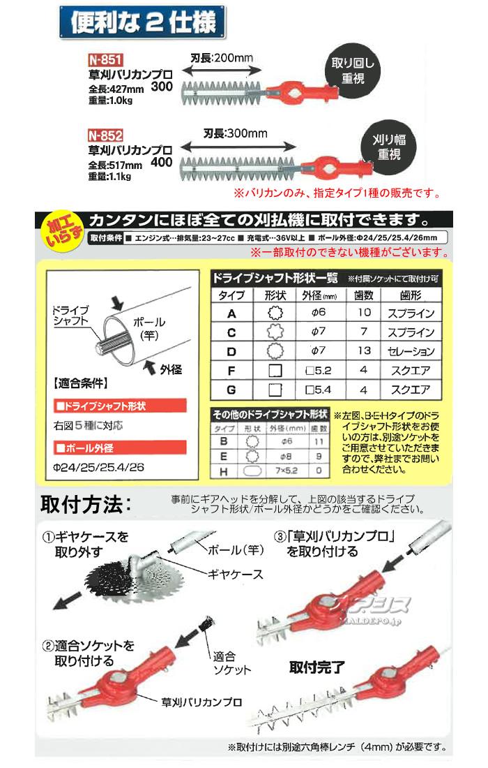 ニシガキ 刈払機取付用アタッチメント 草刈バリカンプロ300 N-851 刈幅200mm