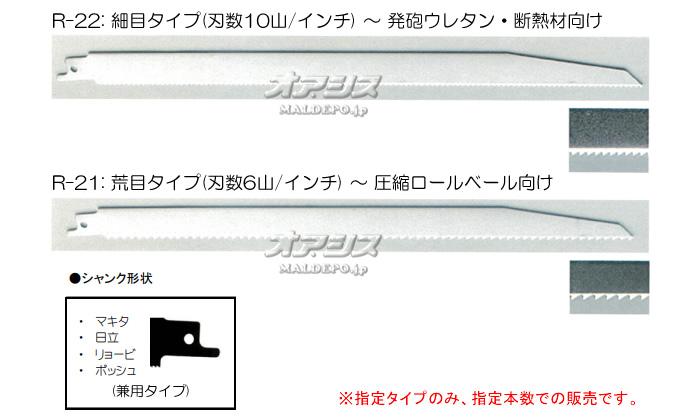神東工業(SHINTO/シントー) レシプロソー替刃 2枚セット(1枚入りx2セット) R-22 刃渡り300mm 細目 発泡ウレタン・断熱材向け
