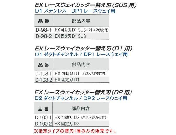 モクバ(Mokuba/小山刃物製作所) EXレースウェイカッター SUS用交換部品 固定刃 D-98-2 D1 ステンレス用 DP1 レースウェイ用
