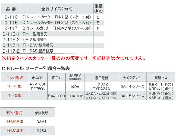 モクバ(Mokuba/小山刃物製作所) DINレールカッター TH-2 D-115