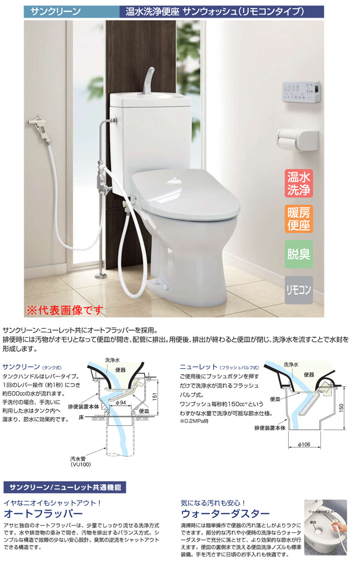 アサヒ衛陶 サンクリーン 手洗付簡易水洗トイレ 温水洗浄便座 リモコンタイプ (ラブリーアイボリー)